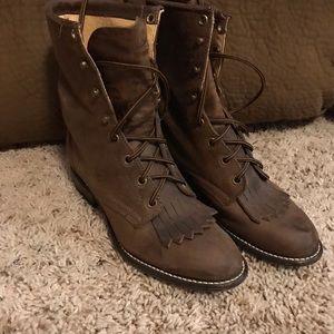Laredo Shoes - Laredo Vintage Lace-up Roper Western Boots 6.5 VGC